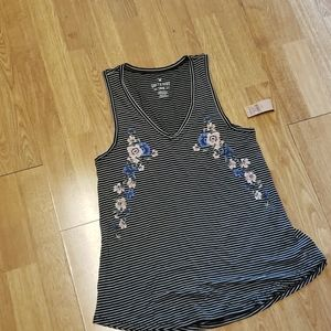 NWT AEO S&S striped embroidered flowy tank S